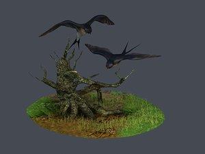 swallow wild goose eagle bird 3D model