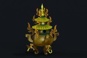 3D bagua copper furnace alchemy model
