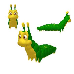 3D model caterpillar cartoon