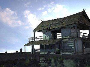 3D model mountain forest grass house