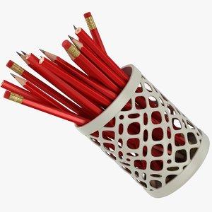 realistic red pencils cup 3D model