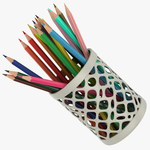 realistic colored pencils cup model