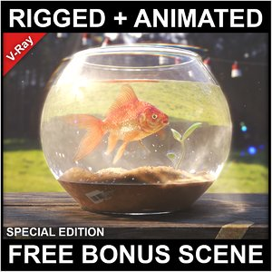 3D model goldfish context scene animations