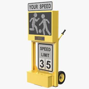radar speed sign dolly 3D model
