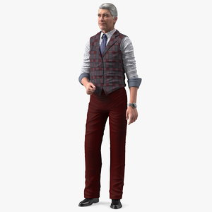 3D elderly man casual wear