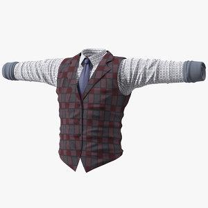 men vest shirt 3D model