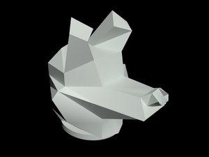 3D model white wolf print