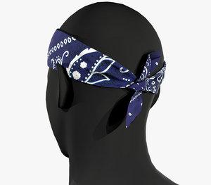 blue paisley bandana 3D model