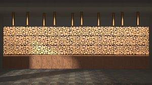 3D decoration wooden logs panels