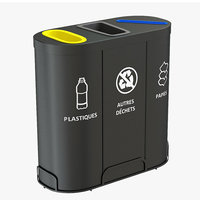 MALMO Office Waste Recycling Bin with 3 Containers