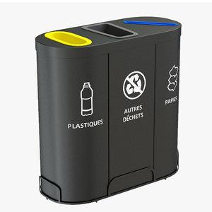 3D model malmo waste bin container