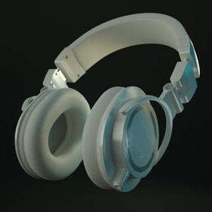 technica ath-m50x headphones white 3D