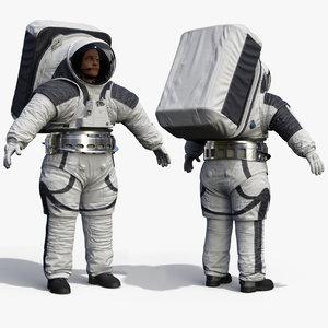 astronaut wearing xemu spacesuit 3D