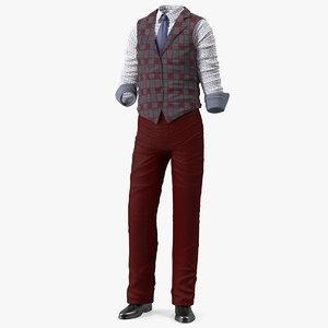 3D men casual style wear model