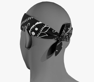 black paisley bandana 3D model
