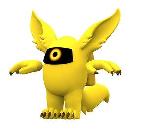 3D model yellow werewolf