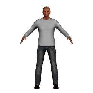 low-poly latino man 3D model