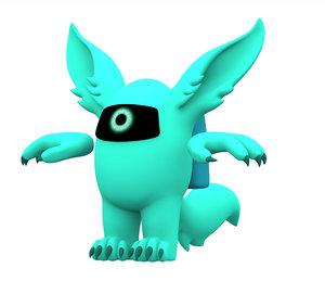 3D cyan werewolf model