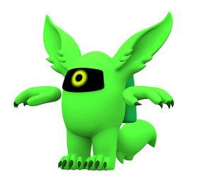 3D lime werewolf model