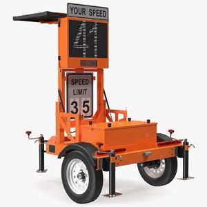 3D model mobile speed display trailer