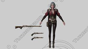 3D model female warrior