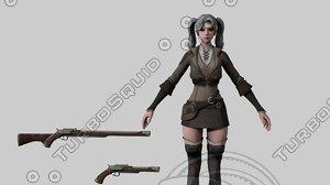 3D female warrior