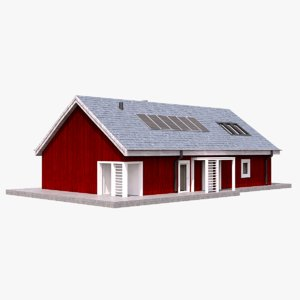 3D house scandinavian red model