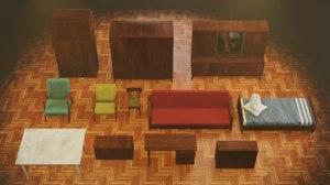 3D soviet furniture set 60s model