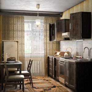 old kitchen vintage scene interior 3D model