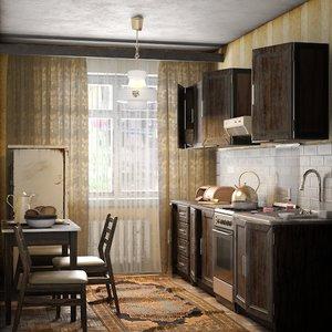 old kitchen vintage scene interior 3D model