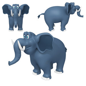 elephant cartoon 02 3D model