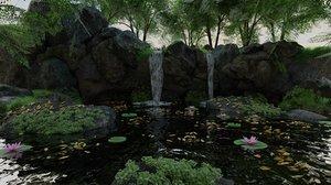 scene rock plant 3D model