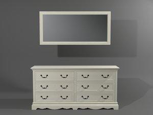 3D model classic style dresser mirror