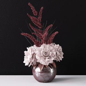 3D model delicate bouquet vase