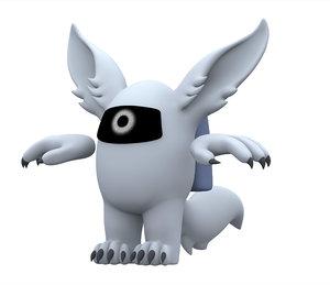 3D white werewolf
