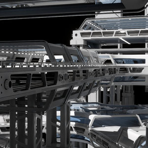 modular sci fi structure 3D model