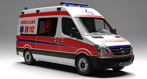 3D model mercedes benz sprinter ambulance