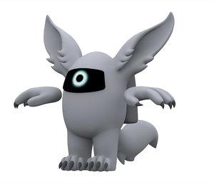 3D silver werewolf model