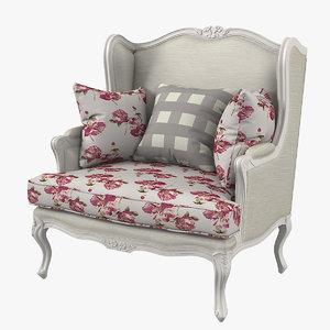 3D elegant classic style armchair model