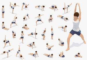 3D animations yoga pose woman