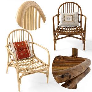 mina natural rattan chair 3D model