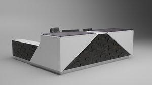 3D model reception desk