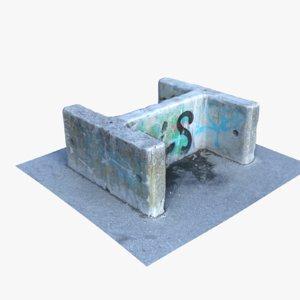 3D concrete barrier 1 model