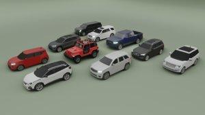 10 suv wrangler xc90 3D model