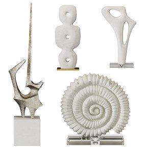 arteriors sculptures set 4 3D