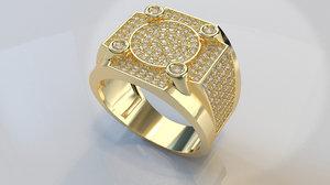 men s diamond ring 3D model