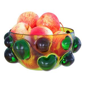 3D apples patterned vase