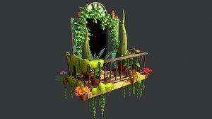 stylized summer balcony 3D model