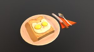 3D model food toast bread