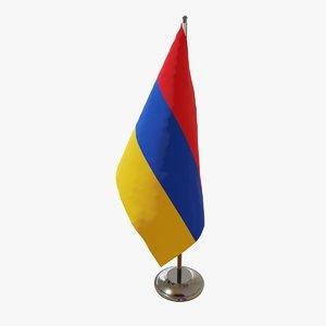3D table flag armenia fabric model